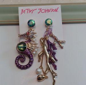 Betsey Johnson Seahorse Coral Dangle Earrings